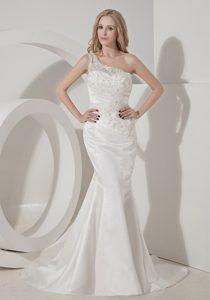 Mermaid One Shoulder Satin Fabulous Bridal Dresses for Summer Wedding