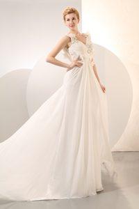 Charming Empire V-neck Court Train Chiffon Wedding Reception Dress for Fall