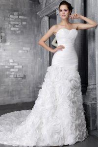 Sweetheart Zipper-up Organza 2013 Best Seller Bridal Dress with Chapel Train