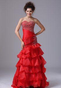 Red Mermaid Sweetheart Beaded Semi-formal Prom Dresses in Organza