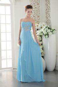 Aqua Blue Empire Sweetheart Chiffon Prom Graduation Dress with Beading