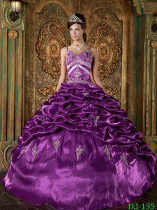 Svelte Taffeta Quinceanera Gowns in Eggplant Purple with Spaghetti Straps