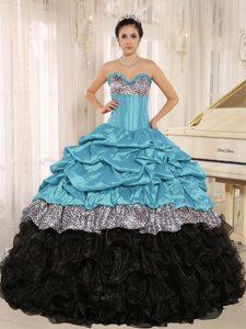 Aqua and Black Taffeta and Organza Sweet Sixteen Dresses with Ruffles