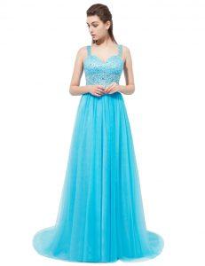 Latest Aqua Blue Empire Beading Evening Dress Zipper Tulle Sleeveless With Train