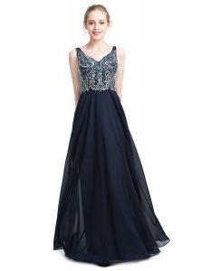 Excellent V-neck Sleeveless Prom Dress Floor Length Beading Black Chiffon