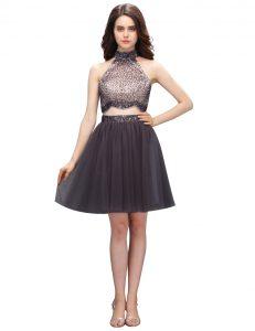 Cute Black High-neck Neckline Beading Dress for Prom Sleeveless Zipper