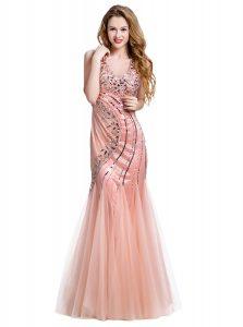 Noble Mermaid Peach Lace Up V-neck Beading Prom Dresses Tulle Sleeveless