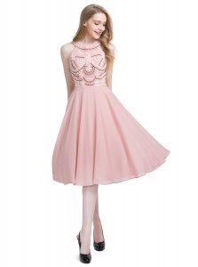 Pink Column/Sheath Scoop Sleeveless Chiffon Knee Length Zipper Beading Prom Party Dress