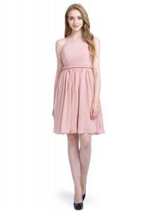 One Shoulder Pink Chiffon Side Zipper Evening Dress Sleeveless Knee Length Ruching