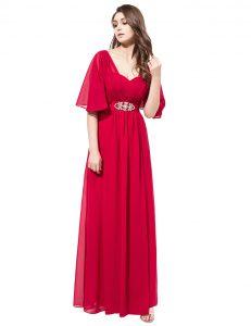 Half Sleeves Zipper Floor Length Beading Dress for Prom