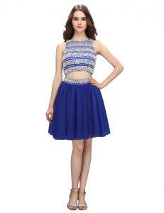 Empire Prom Party Dress Royal Blue Scoop Chiffon Sleeveless Knee Length Backless