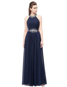 Scoop Sleeveless Side Zipper Prom Gown Navy Blue Chiffon