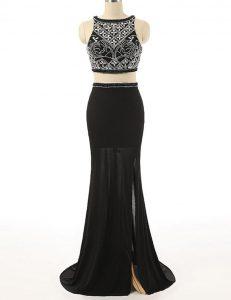 Popular Scoop Sleeveless Chiffon Dress for Prom Beading Brush Train Zipper