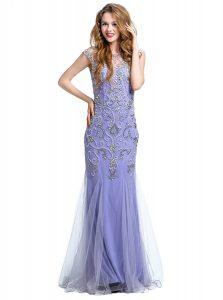 Sumptuous Mermaid Scoop Cap Sleeves Side Zipper Lavender Tulle