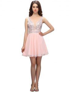 Dynamic V-neck Sleeveless Zipper Prom Gown Baby Pink Chiffon