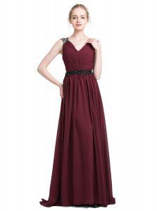 Burgundy Column/Sheath Lace Prom Gown Zipper Chiffon Sleeveless With Train