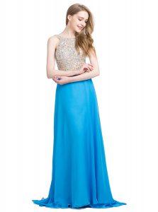 Glorious Scoop With Train Blue Prom Dress Chiffon Brush Train Sleeveless Beading