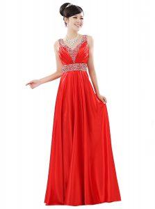 Red Column/Sheath Chiffon V-neck Sleeveless Beading Floor Length Zipper Dress for Prom