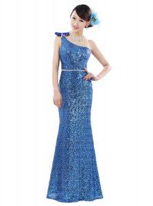 New Style One Shoulder Sequins Floor Length Column/Sheath Sleeveless Blue Prom Party Dress Zipper