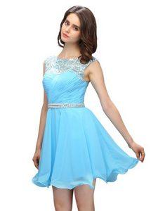 Nice Chiffon Scoop Sleeveless Zipper Beading Prom Dresses in Baby Blue