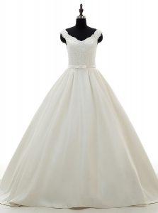 Lace and Belt Wedding Dress White Zipper Sleeveless Brush Train