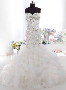 Mermaid Sweetheart Sleeveless Brush Train Zipper Wedding Gowns White Tulle