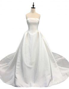 Popular With Train White Wedding Gown Satin Chapel Train Sleeveless Ruching