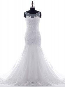 Scoop With Train Mermaid Sleeveless White Wedding Dress Brush Train Lace Up