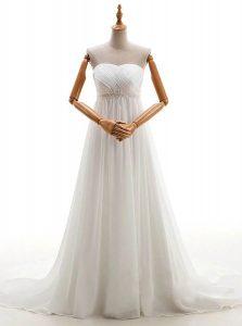Fashionable Sweetheart Sleeveless Bridal Gown With Brush Train Beading White Chiffon