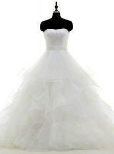 Custom Designed Organza Strapless Sleeveless Clasp Handle Beading and Ruffles Wedding Dress in White