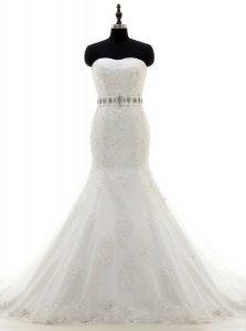 Flare Mermaid With Train White Wedding Dress Lace Brush Train Sleeveless Beading and Sashes ribbons
