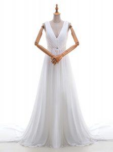 Exceptional Brush Train Empire Bridal Gown White V-neck Chiffon Sleeveless With Train Zipper