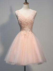 Latest V-neck Sleeveless Zipper Evening Dress Peach Tulle