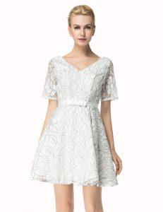 White Lace Zipper Evening Dress Short Sleeves Mini Length Sashes ribbons
