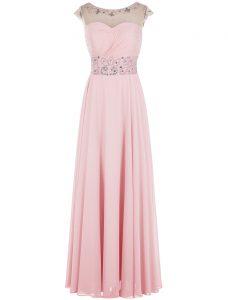 Customized Floor Length Baby Pink Evening Dress Scoop Sleeveless Zipper