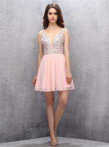 Attractive Sleeveless Zipper Knee Length Beading Homecoming Dress