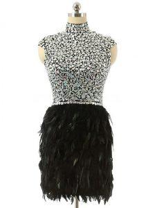 Latest Black Cap Sleeves Beading Knee Length Homecoming Dress