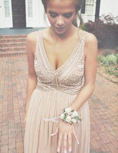 Custom Fit Champagne Sleeveless Beading Floor Length Evening Dress