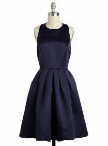 Square Sleeveless Homecoming Dress Knee Length Bowknot Black Satin