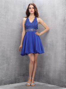 Backless Mini Length Royal Blue Homecoming Dress Chiffon Sleeveless Beading and Belt
