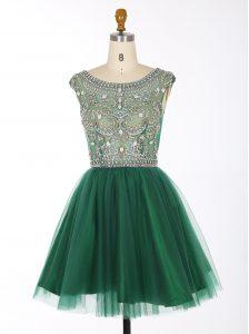 Hot Sale Green Scoop Neckline Beading Prom Gown Sleeveless Zipper