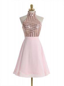 Baby Pink Chiffon Backless Halter Top Sleeveless Knee Length Evening Dress Sequins
