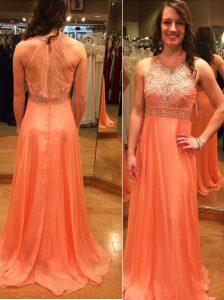 Wonderful Orange Chiffon Backless Scoop Sleeveless Prom Dresses Brush Train Beading