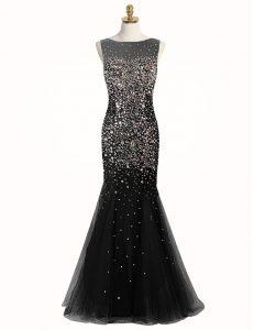 Customized Mermaid Sleeveless Zipper Floor Length Beading Prom Party Dress