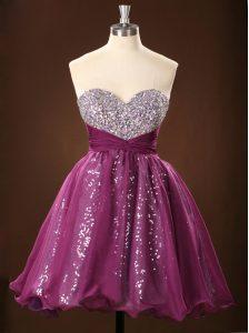 Sequins Ball Gowns Prom Evening Gown Purple Sweetheart Chiffon Sleeveless Mini Length Zipper