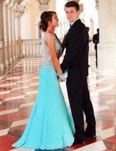 Mermaid Beading Prom Dresses Blue Zipper Sleeveless Court Train
