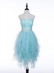 Graceful Light Blue A-line Sweetheart Sleeveless Tulle Asymmetrical Zipper Beading Prom Evening Gown