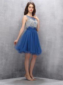 Navy Blue Tulle Zipper Scoop Sleeveless Knee Length Prom Party Dress Beading