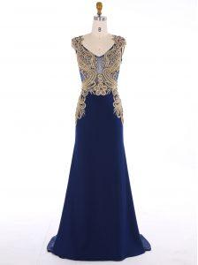 Best Selling Mermaid Navy Blue V-neck Zipper Appliques Prom Dress Sweep Train Sleeveless