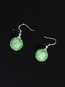 Beautiful Spring Green Round Rhinestone Earrings